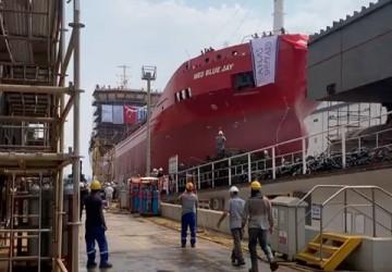 NB14 Med Blue Jay kimyasal tanker gemisi bugün düzenlenen tören ile denize indirildi